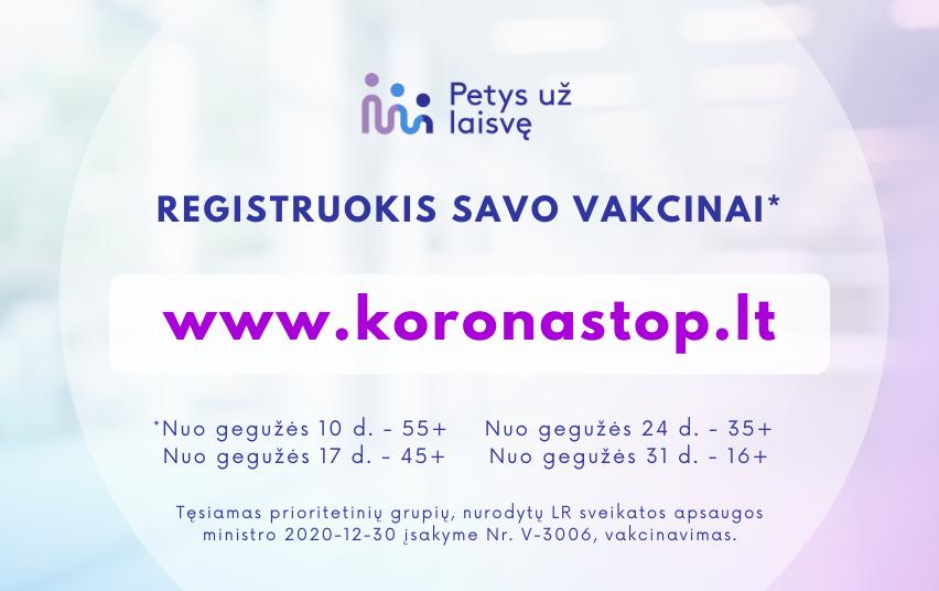 Registruokis savo vakcinai
